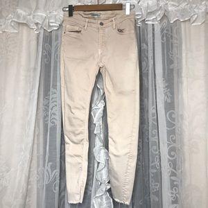 ZARA Dark cream distressed denim jeans